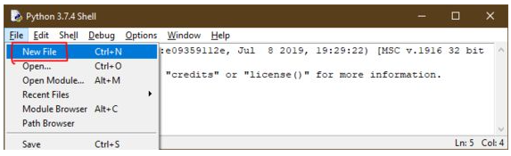 Como abrir um novo arquivo no IDLE