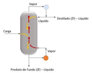 Diversas interações líquido/vapor ao longo da coluna