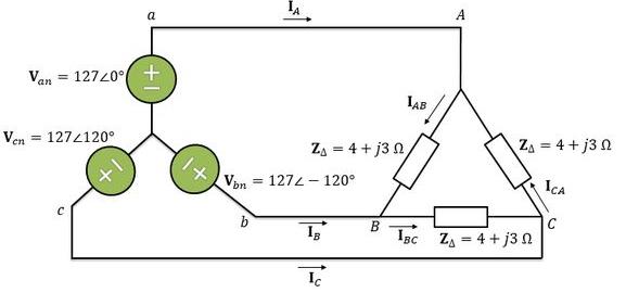 Esquema ilustrativo da conexão estrela-triângulo